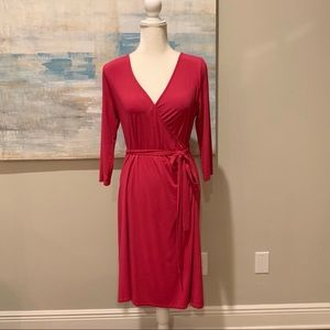 Fuchsia (hot pink) knit jersey dress.